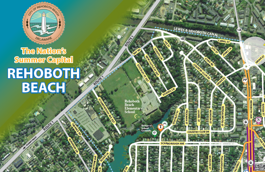 City of Rehoboth Beach Parkinga nd Walking guide map by iKANDE