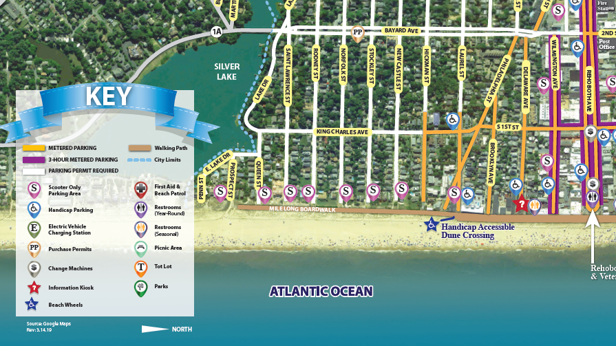 City of Rehoboth Beach Parkinga nd Walking guide by iKANDE web design