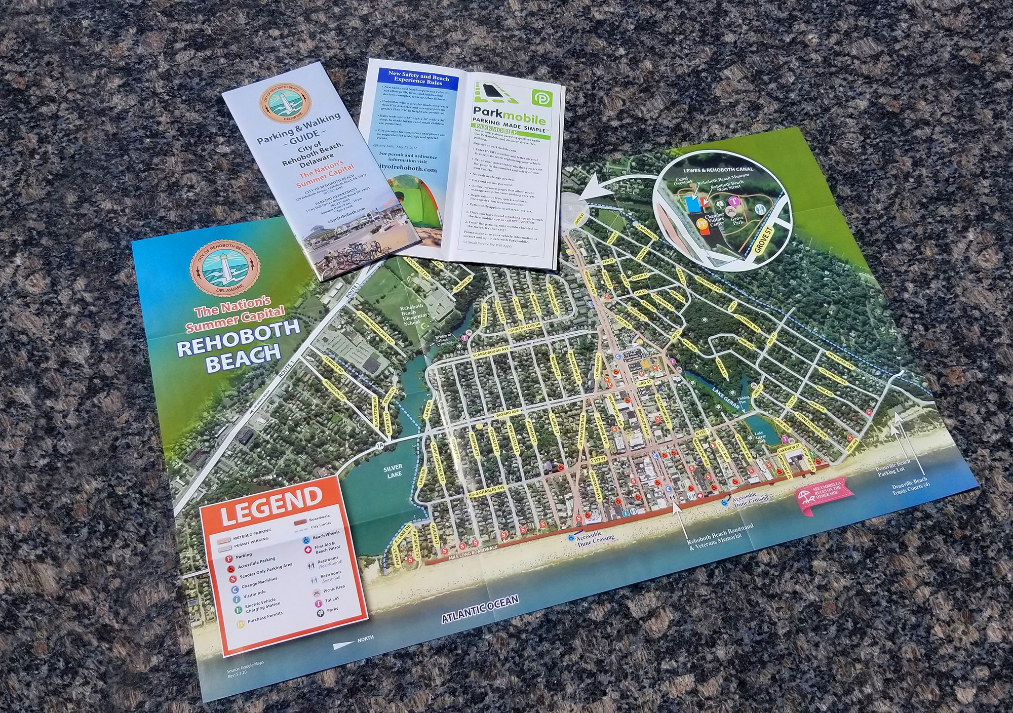 City of Rehoboth Beach Parking & Walking guide and map illustration by iKANDE web design