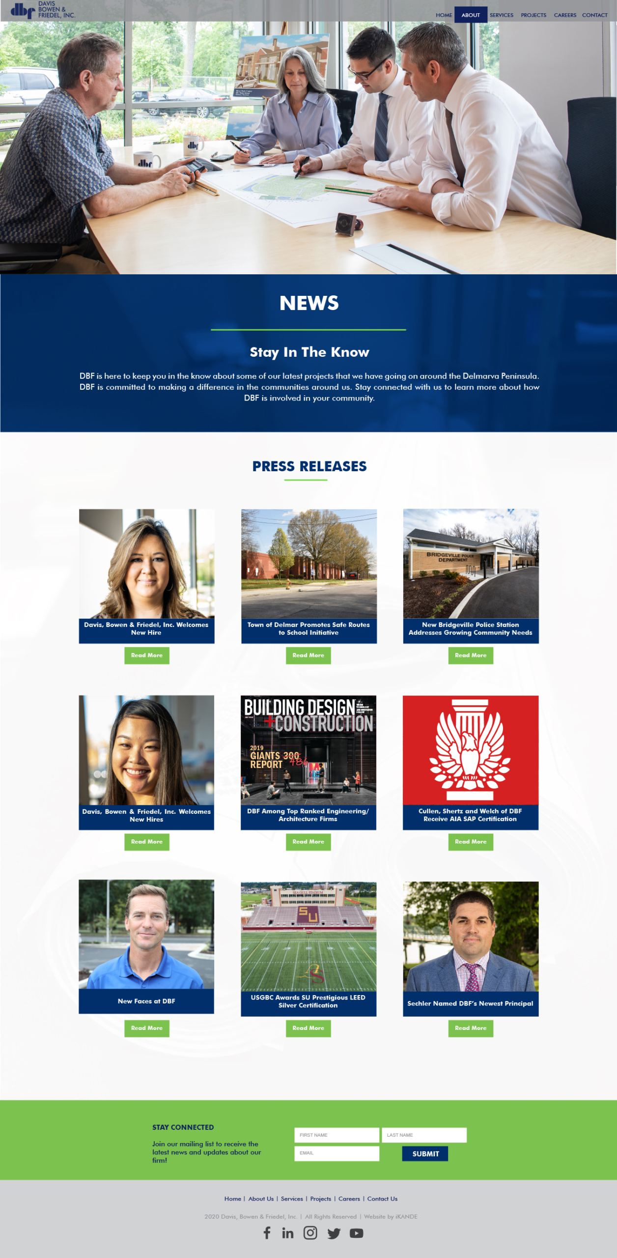 DBF inc news page and web design by iKANDE