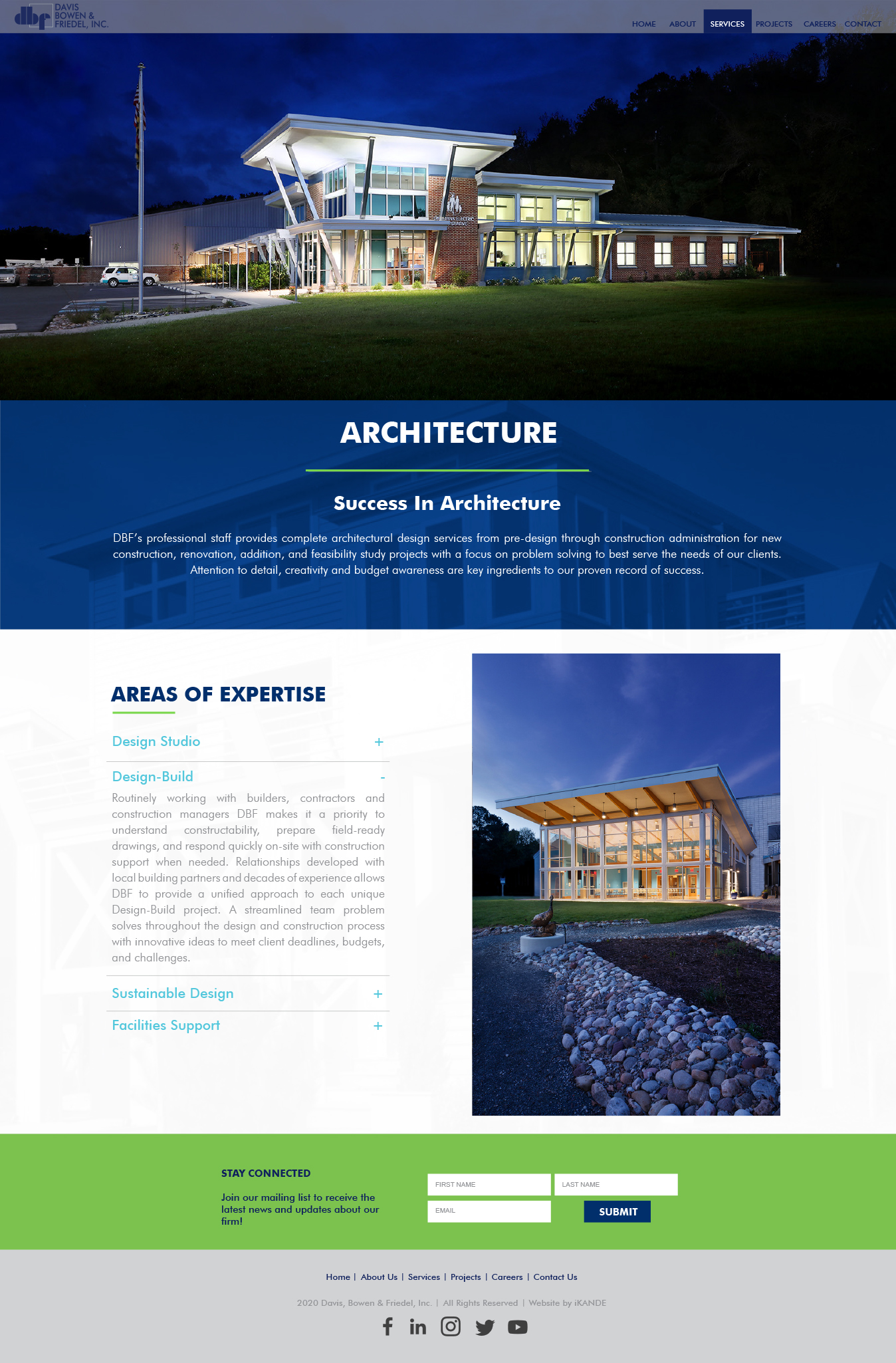 DBF inc Architectural service page and web design by iKANDE