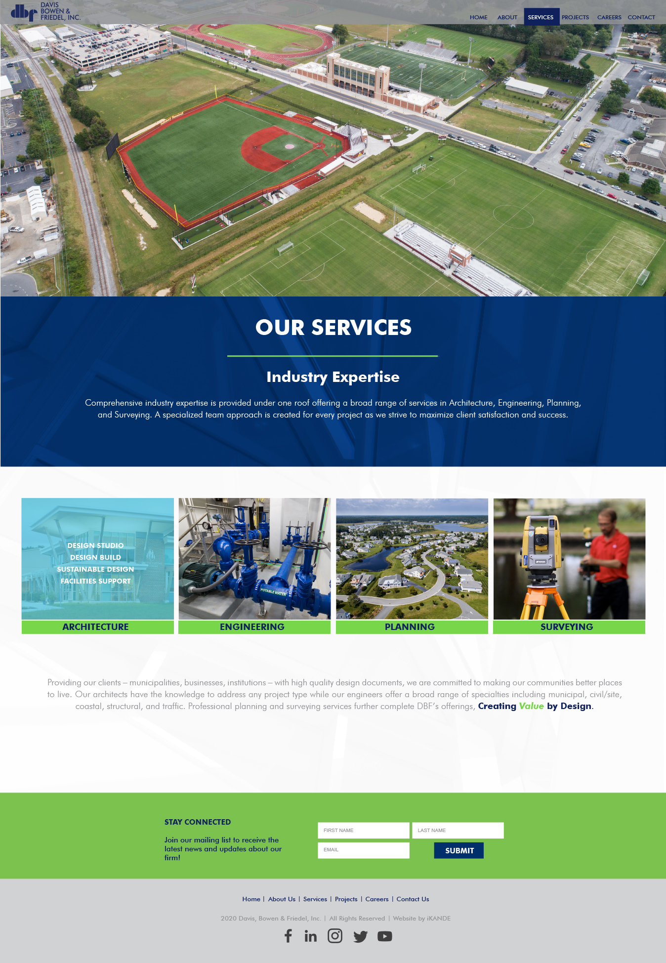 DBF inc services page and web design by iKANDE