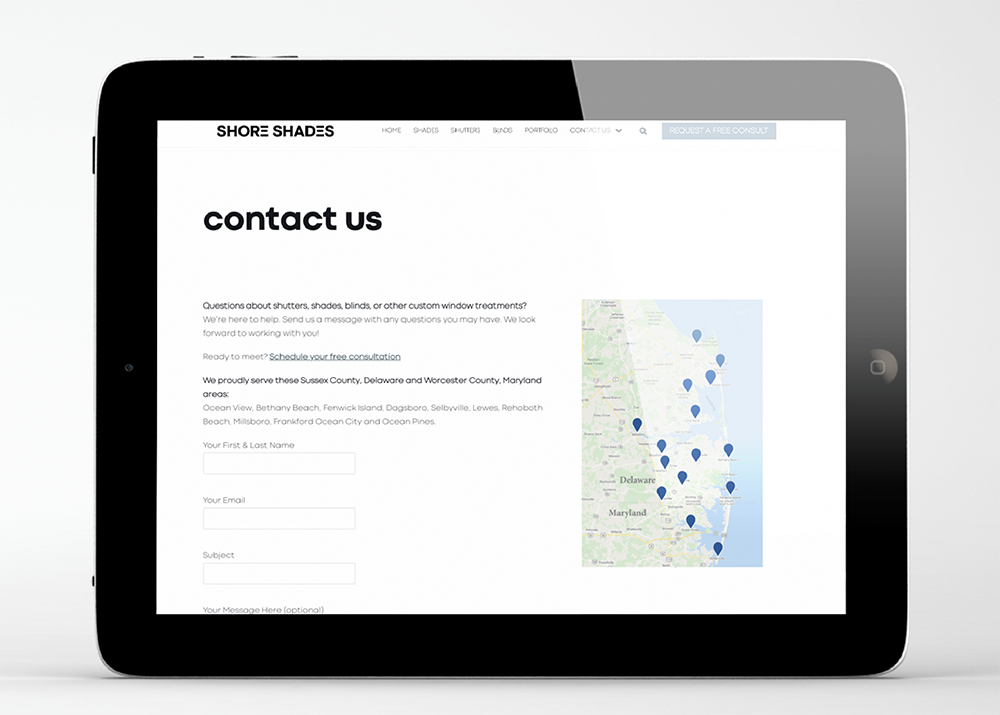 Shore Shades Contact Page website by iKANDE