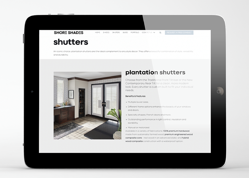 Shore Shades Shutters website by iKANDE